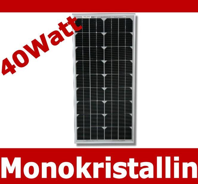 solarpanel 12 volt solarmodul solarzelle solar mono monokristallin 40 w watt 12v ebay. Black Bedroom Furniture Sets. Home Design Ideas